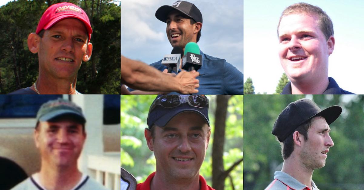 Collage of male, multitime world champion disc golfers