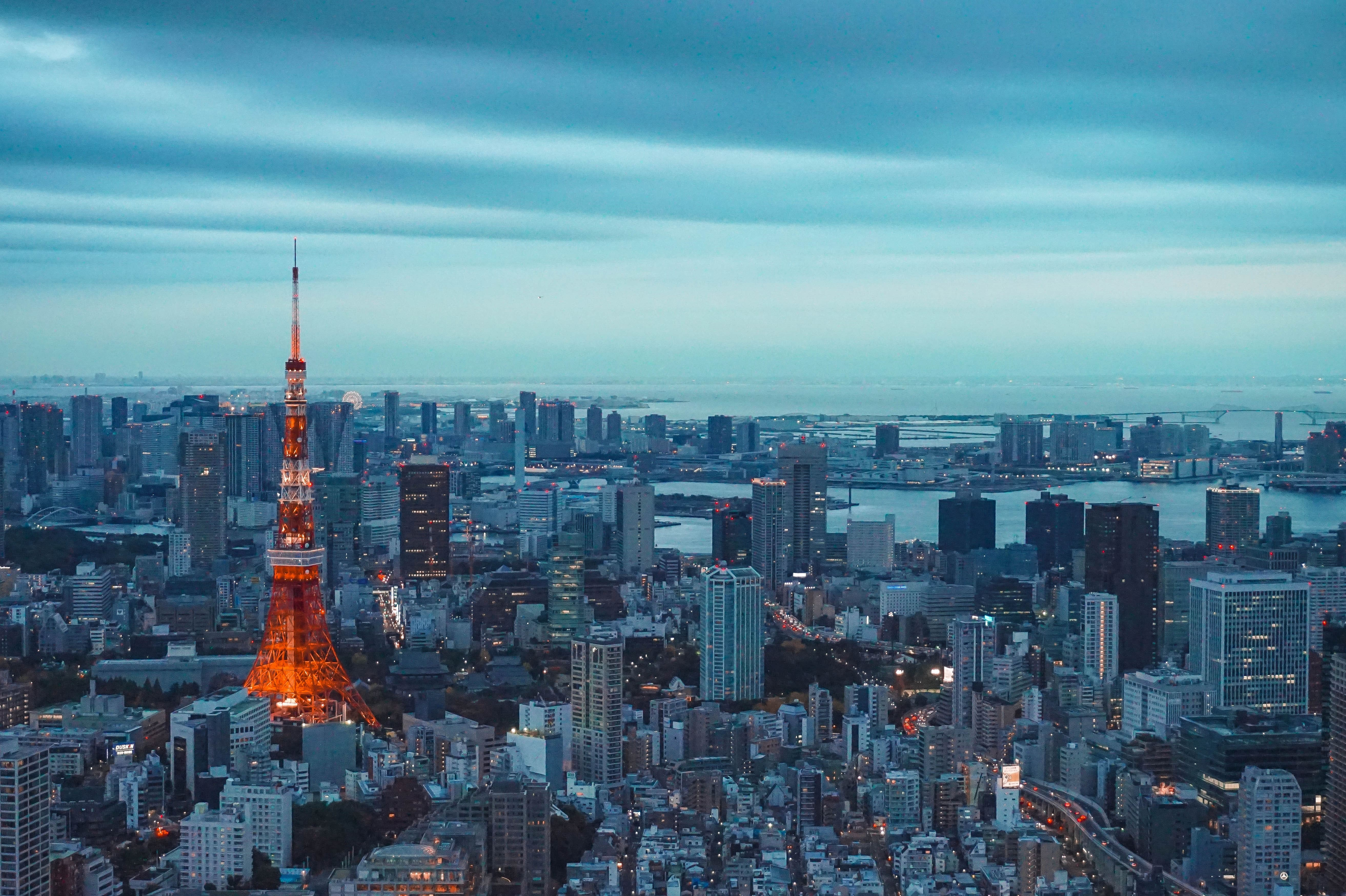 The bright red Tokyo tower is one of Tokyo's top points of interest
