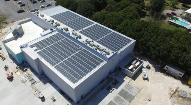 Solar system on St. Croix movie theater by CivicSolar