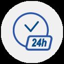 """Ícone de um relógio com """"24h"""" na parte central."""