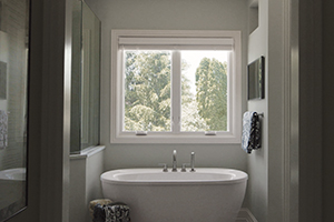 Interior bathroom with casement windows from Infinity from Marvin