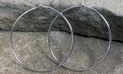 Finished wire hoop earrings