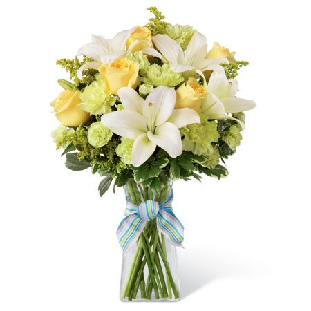 Yellow roses pale green carnations st patricks day bouquet with blue bow