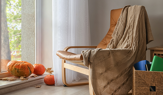 Fall image of home interior with window