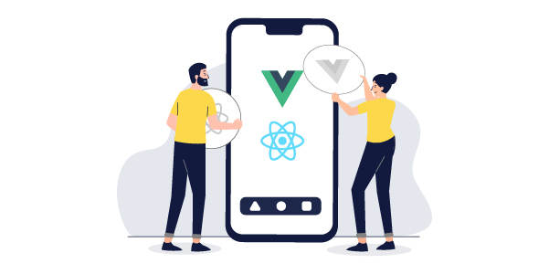 Illustration: Two people placing Vue and React logos on a mobile phone screen