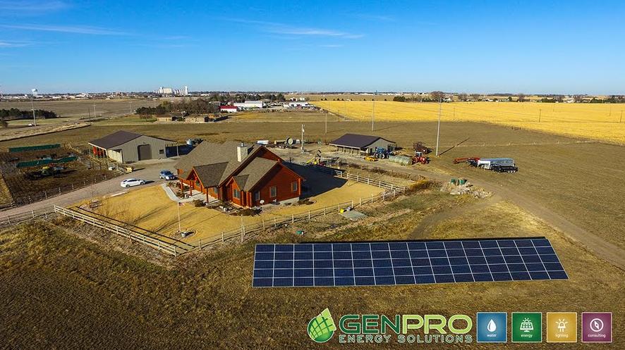 Solar ground mount installed in Nebraska by GenPro