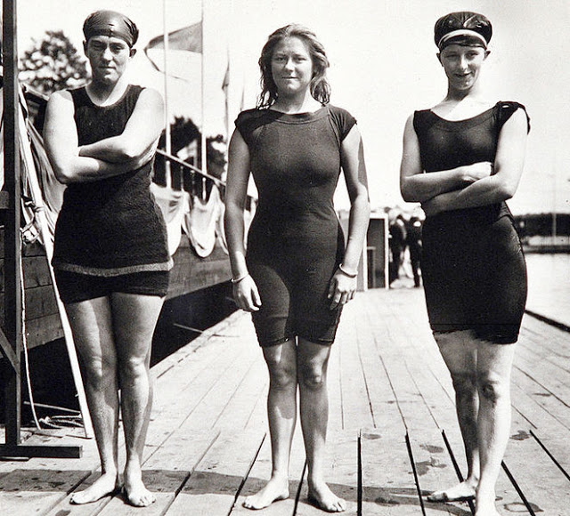 Swimmers Fanny Durack, Wilhelmina Wylie, and Jennie Fletcher at the 1912 Stockholm Olympics