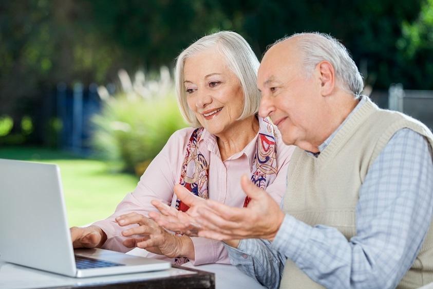 senior couple viewing Nursing Home Virtual Tour - Marketing plan for COVID-19 coronavirus pandemic