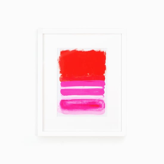 Abstract pink & white art in white frame