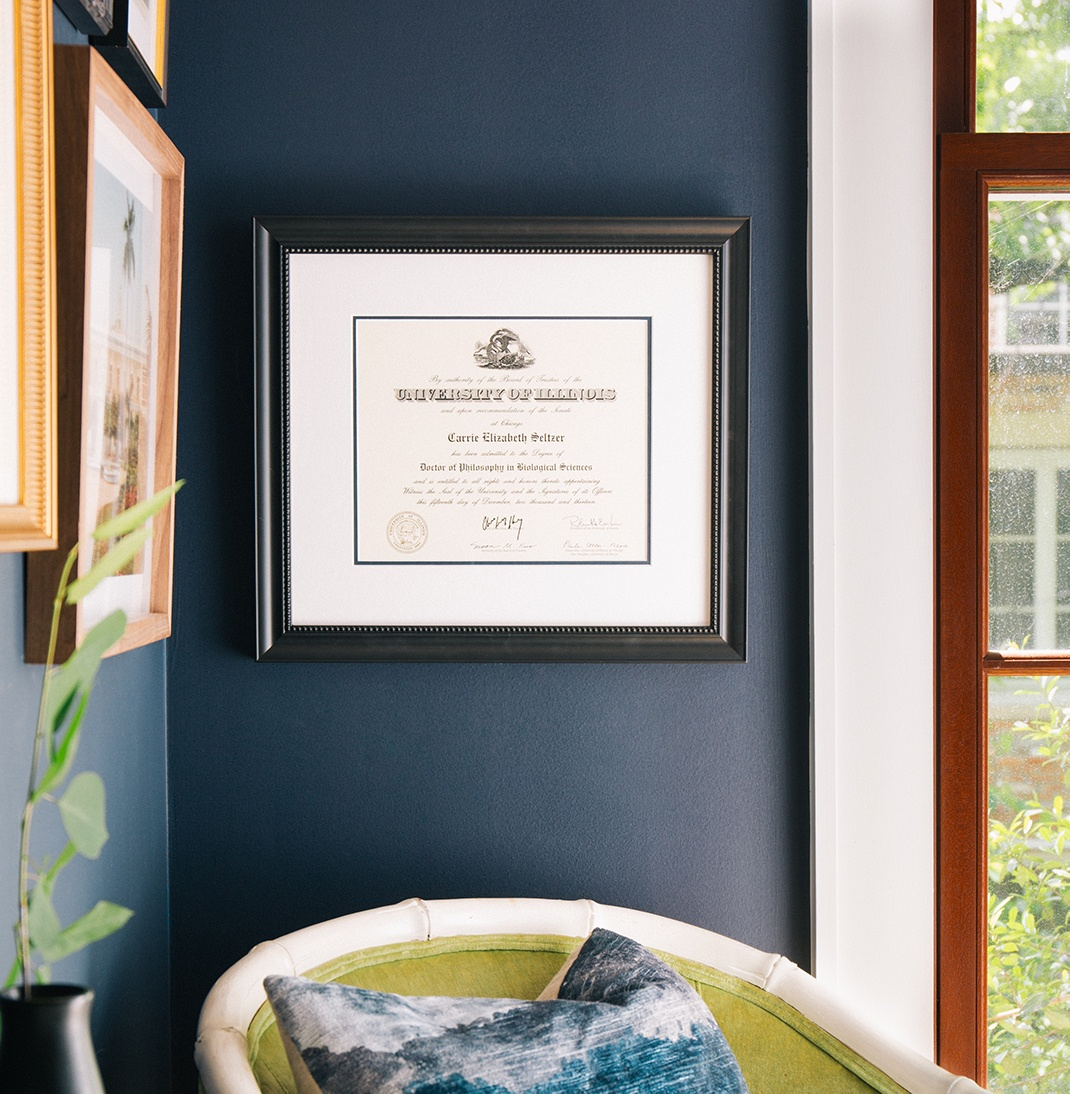 diploma in black frame with blue accent mat