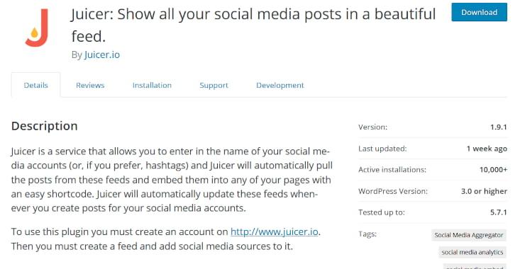 Juicer feed WordPress plugin