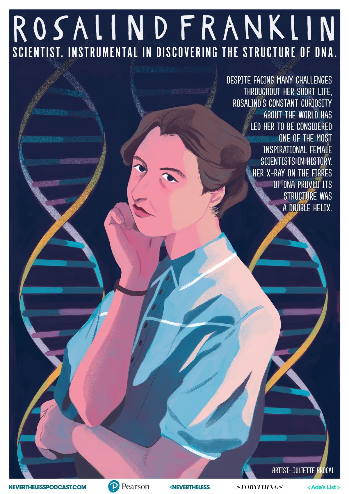 illustrated poster of Rosalind Franklin by Juliette Brocal