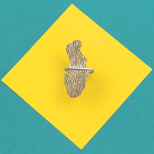 Silver wood grain stacking ring