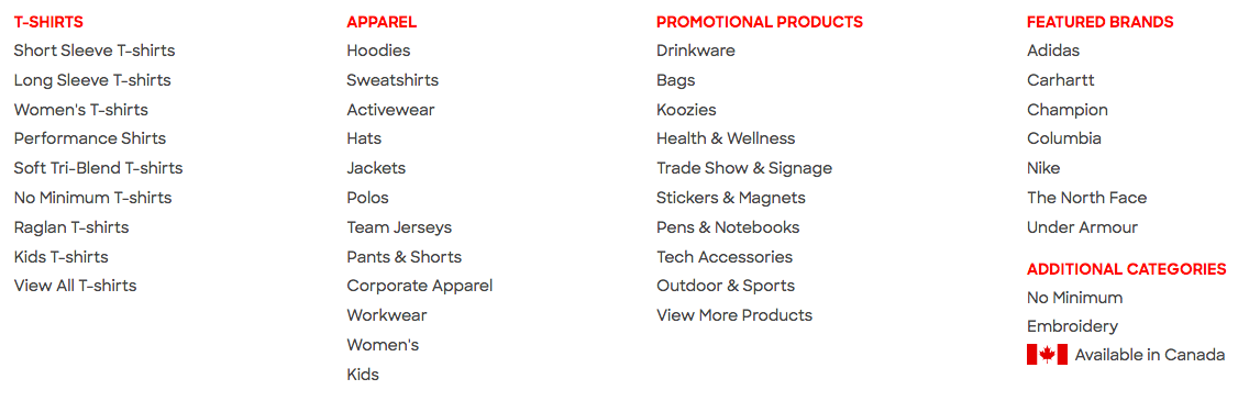 Custom Ink has an absolutely huge product catalog.
