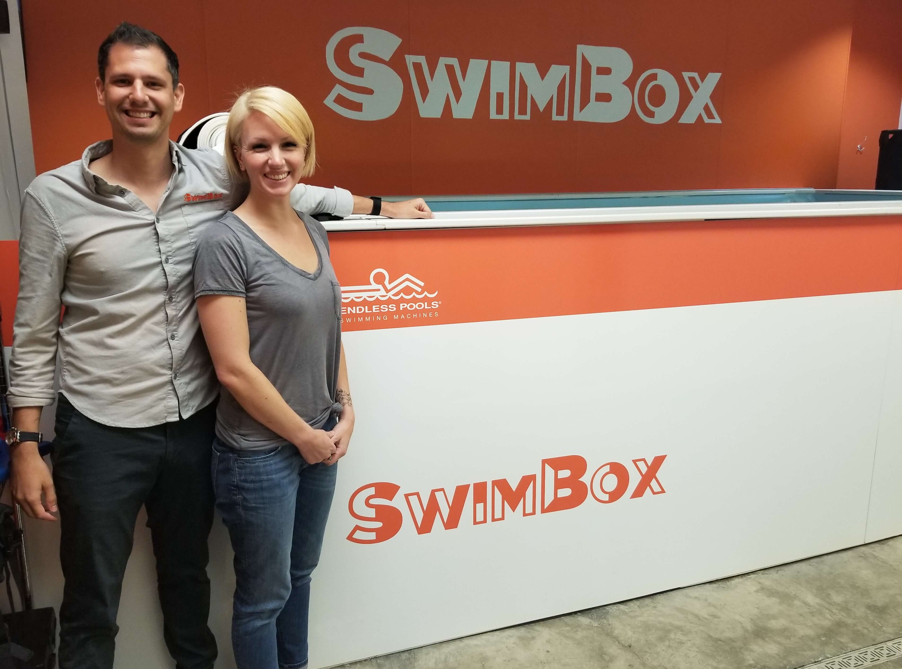 The Endless Pool at SwimBox, with the proud proprietors Dominic and Lissa Latella