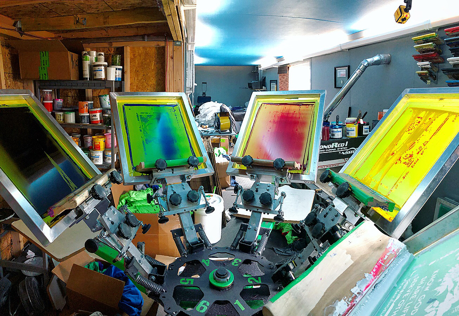 Success Print Shop's small screen printing setup