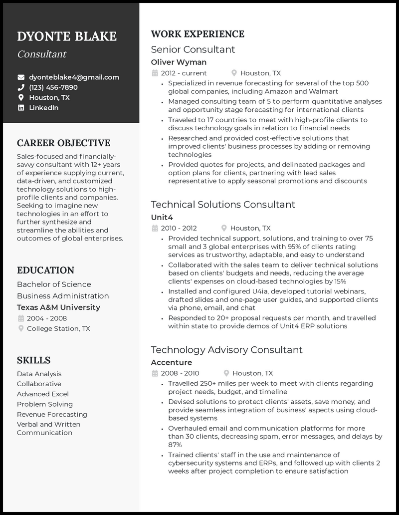 Consultant resume with 12+ years of experience