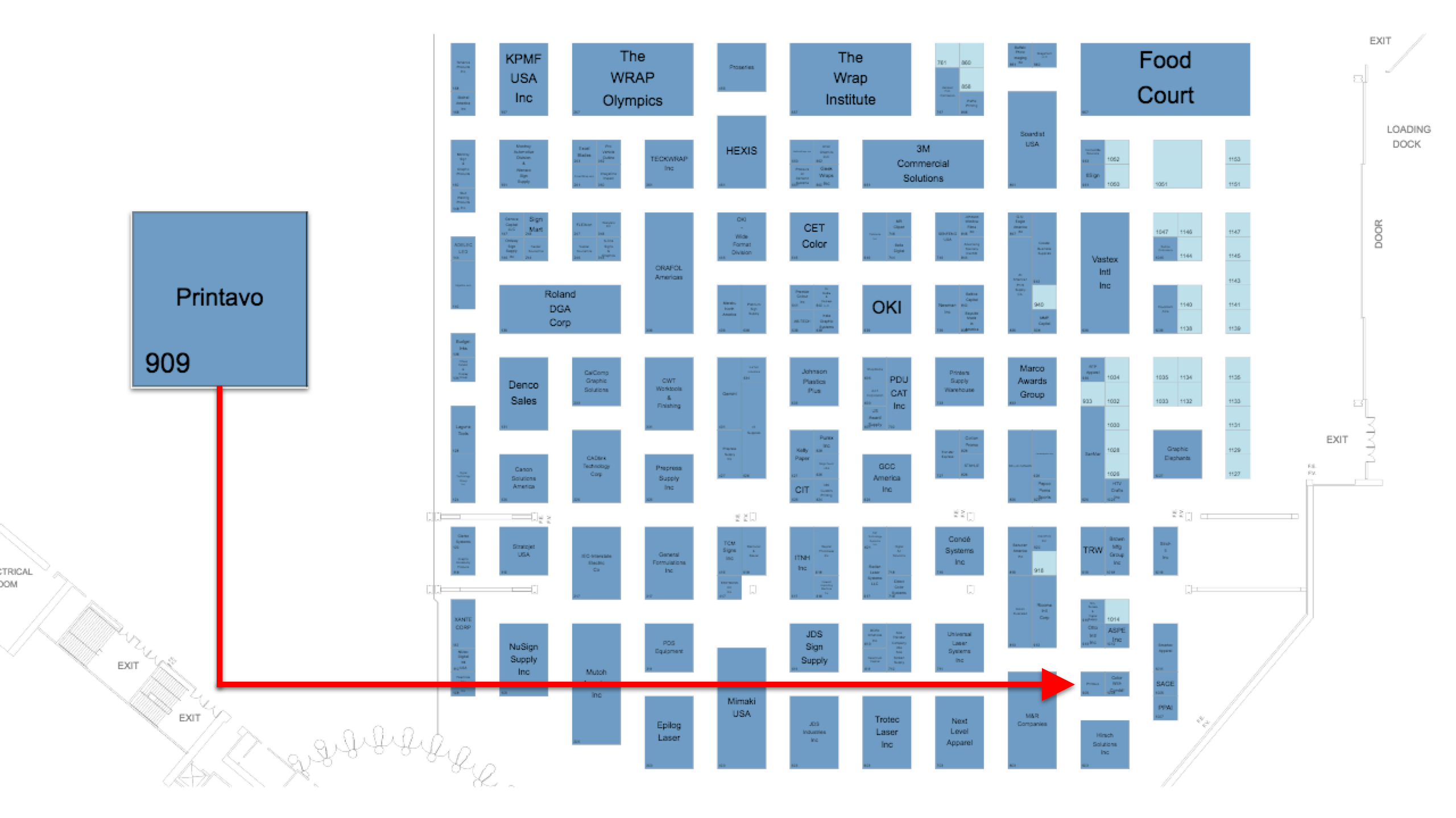 NBM Long Beach 2019 trade show floor plan with a map to Printavo's booth.