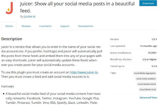 Juicer WordPress plugin