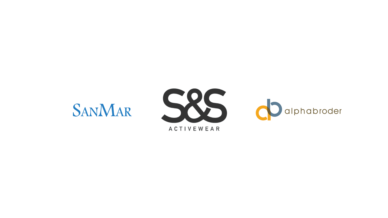 SanMar, S&S, AlphaBroder logos