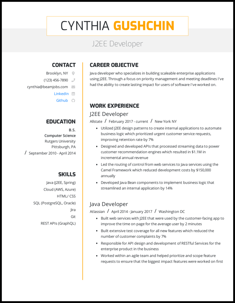 java oracle resume