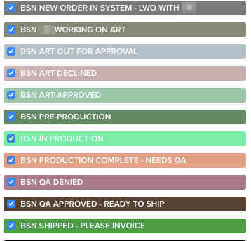 BSN Printavo statuses
