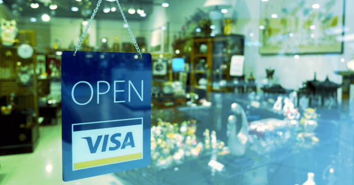 Visa open sign for a store front