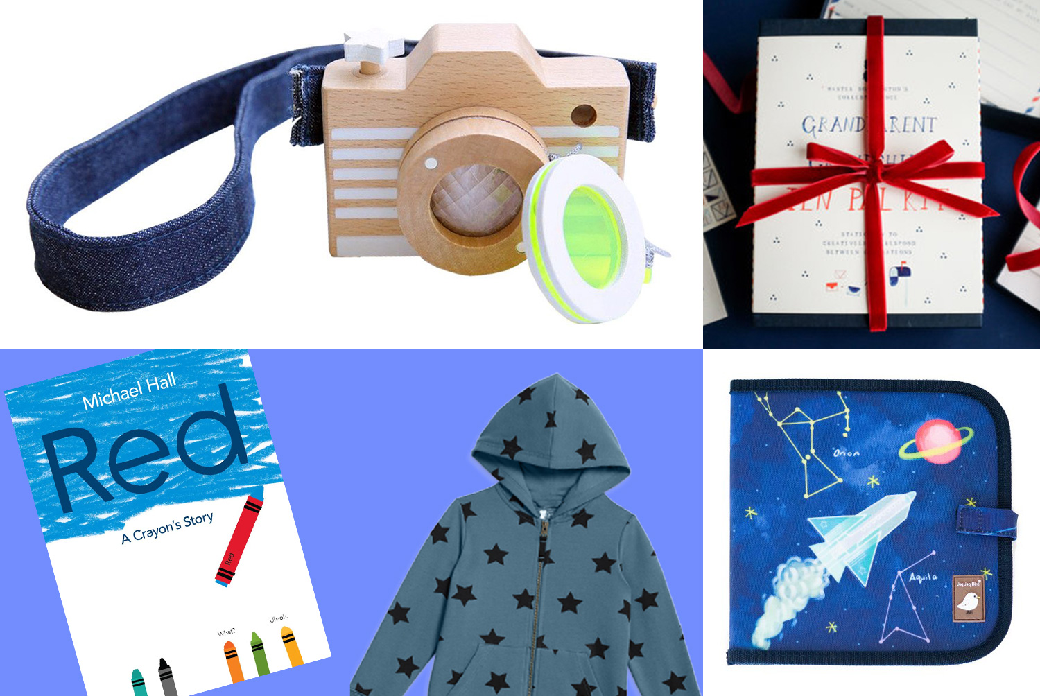 primary grid of blue gifts