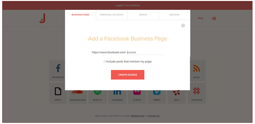 Add Facebook URL to feed