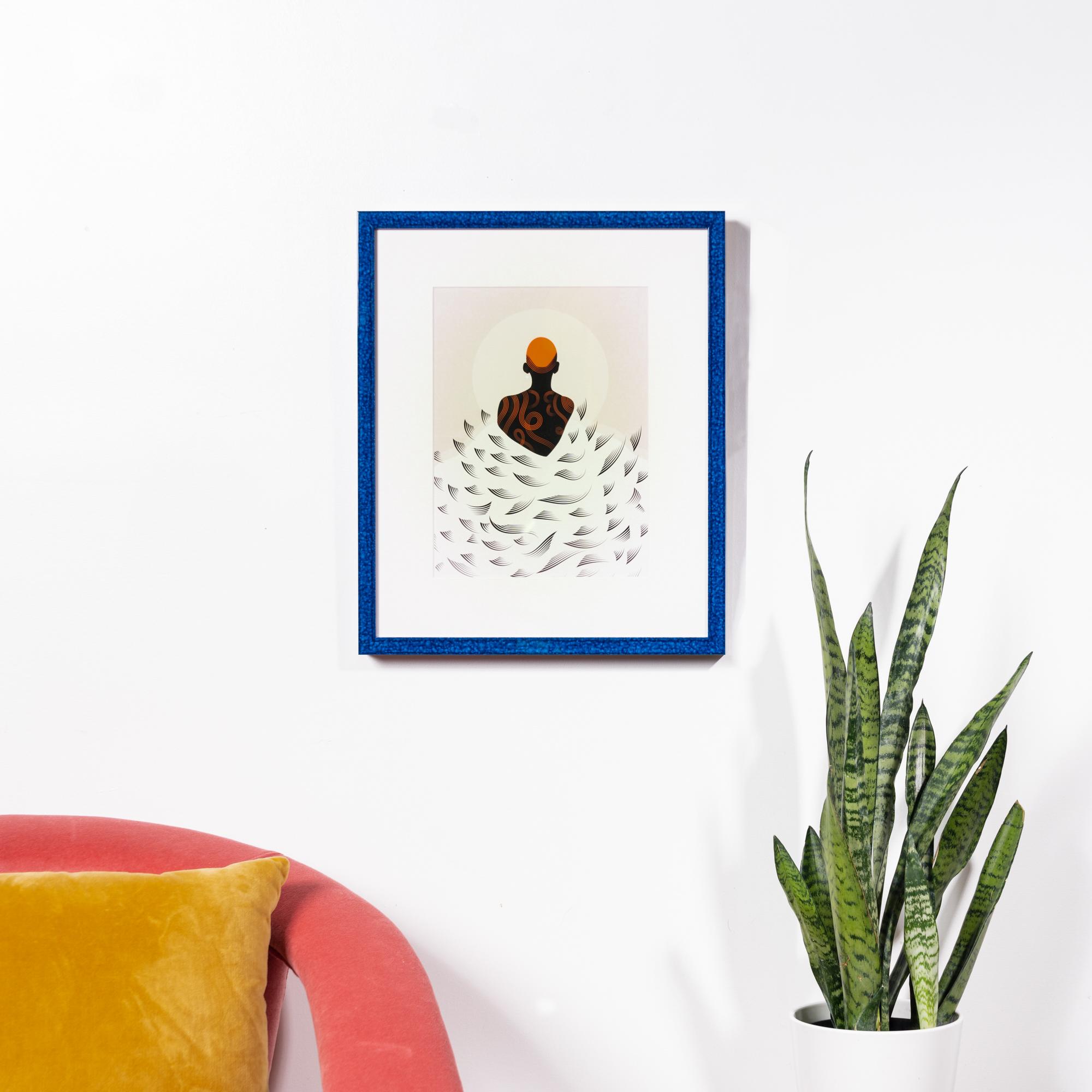Framebridge Black Artists Print Shop Neka King Under What Sun framed print Santorini frame
