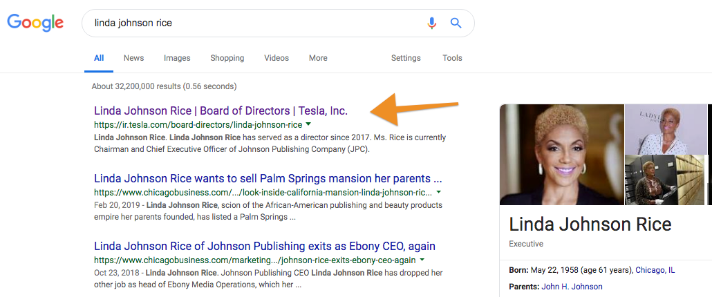 Google search results for Linda Johnson Rice