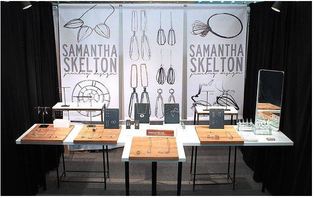 Show display of Samantha Skelton's jewelry