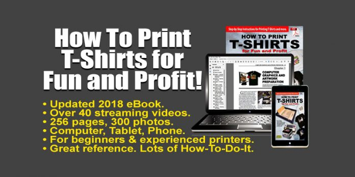 Scott Fresener's famous book on printing t-shirts (Click to download for free!)