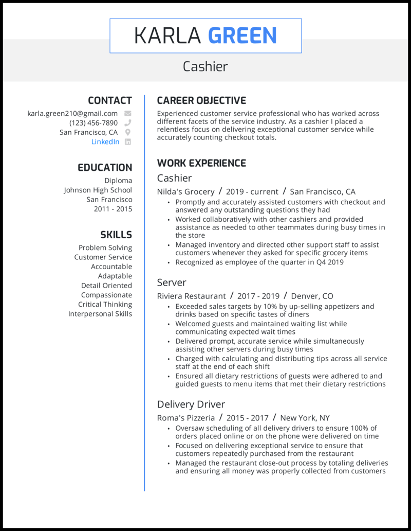 Cashier resume with 3+ years of experience