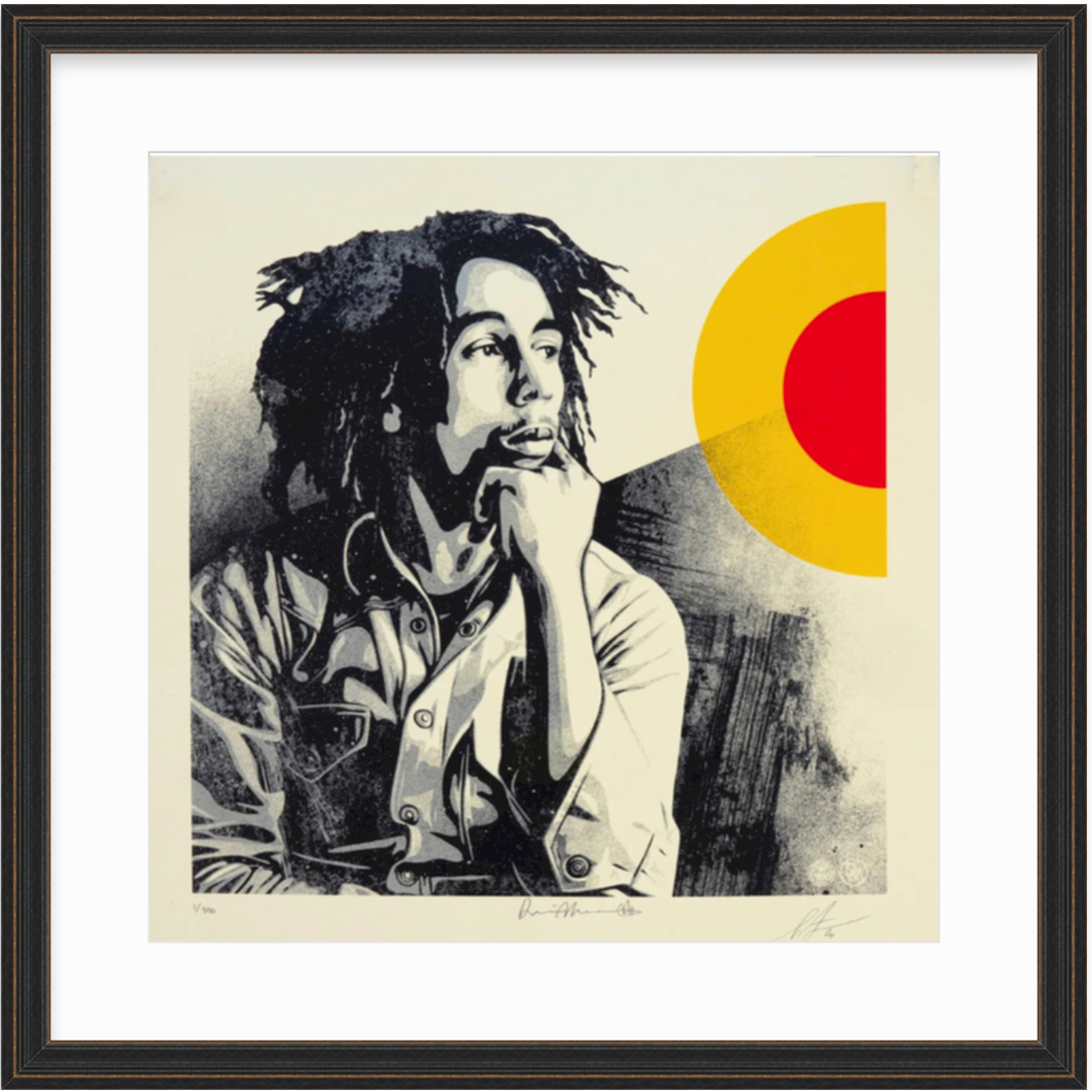 framed art print of Bob Marley