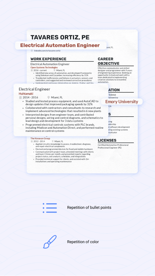 Format your resume with repetition