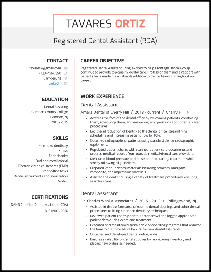 Dental assistant resume with 5+ years experience