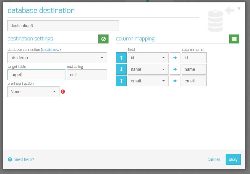database destination
