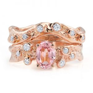 Kristen Baird: Beneath the Stars rose gold rings with pink tourmaline
