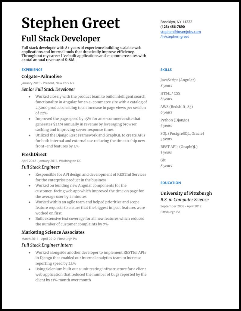 5 Full Stack Developer Resume Examples For 2020