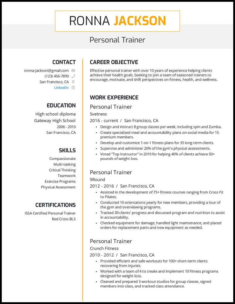 Personal Trainer resume with 10+ years of experience