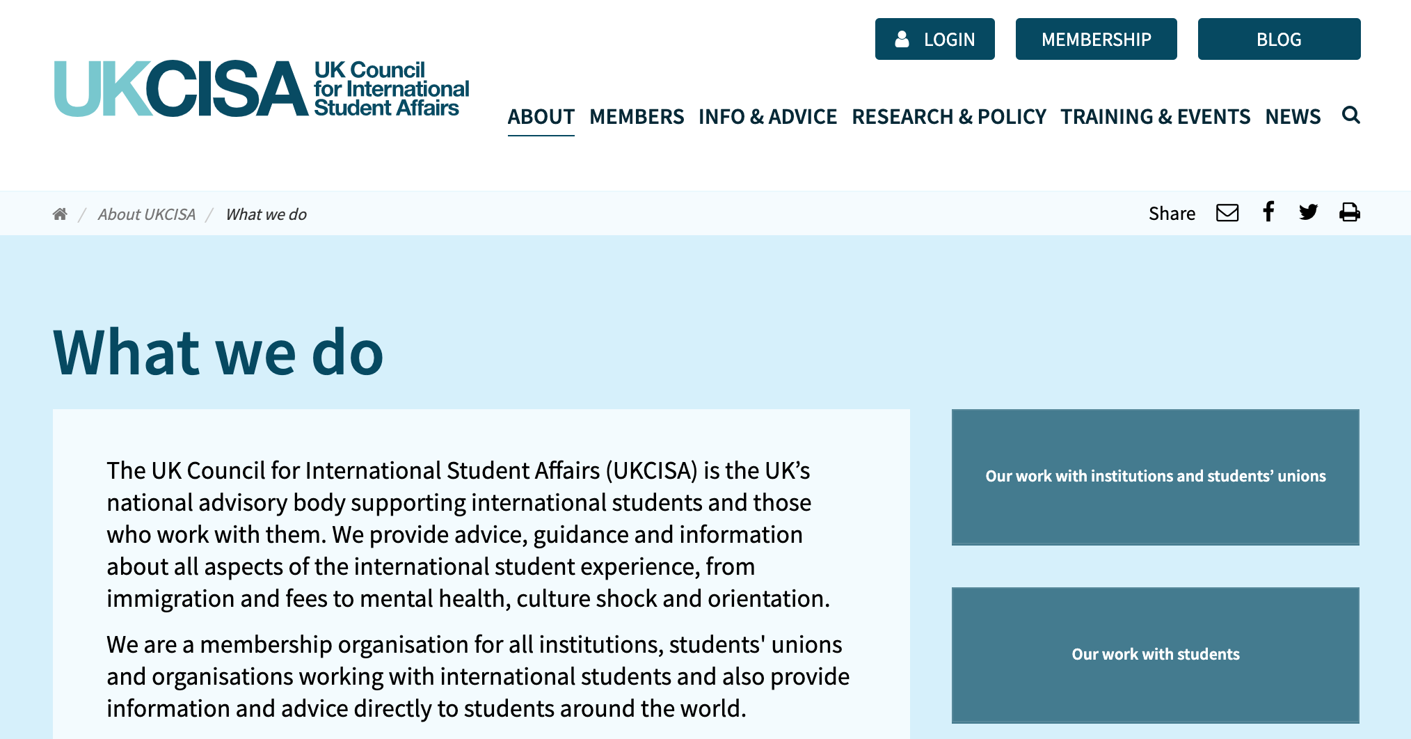 Screenshot of UK Council for International Student Affairs website, launch page about organisation.