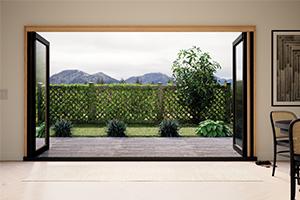 Infinity from Marvin bi-fold fiberglass door open to yard