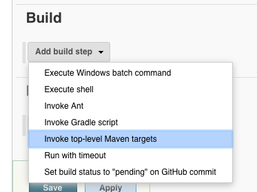 maven jenkins build step menu