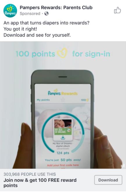 Facebook ad for Pampers Rewards app
