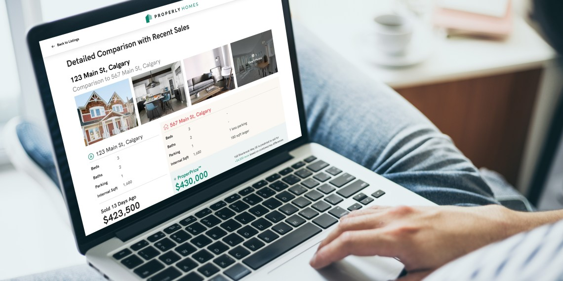 person using Properly website to look at comparable homes