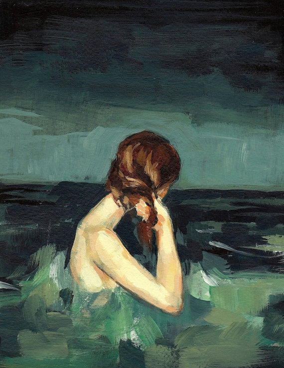 painting of a woman wringing her hair in the sea