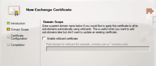 Exchange 2010 new exchange certificate domain scope