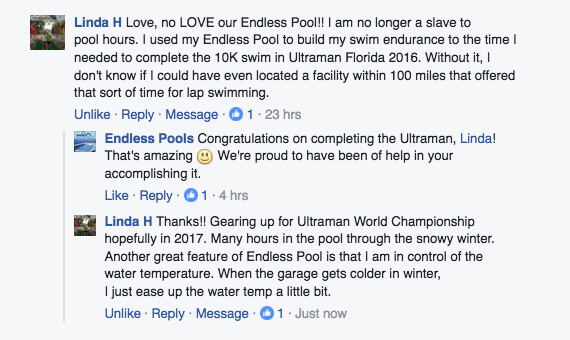 Triathlete Linda's praise on the Endless Pools Facebook page