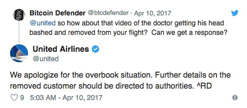 united airlines tweet response screencap